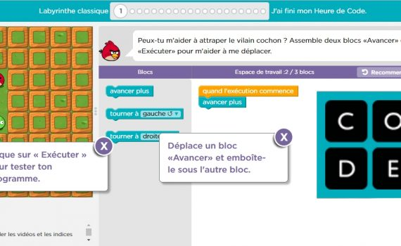Interface d'Angry Birds DANE Nancy-Metz cycle 2 - angrybird : apprendre le codage